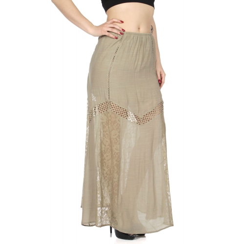 Wholesale I50E Lace & crochet insert maxi skirt Black