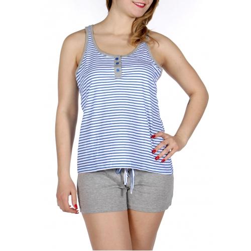 Wholesale E11 Striped tank & solid shorts pj set Blue