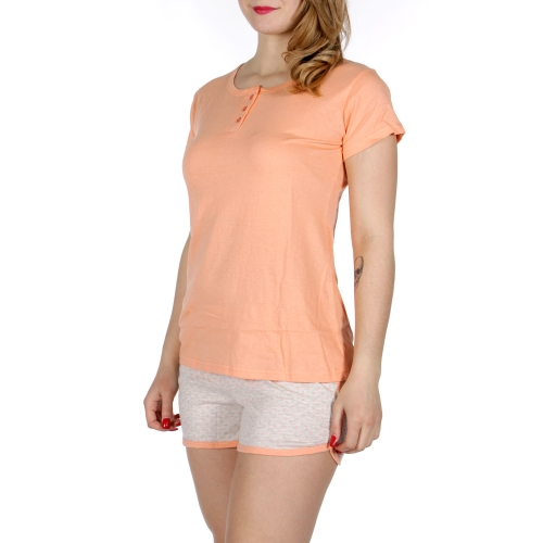Wholesale F08D Buttoned solid shirts & polk dot shorts pj set Coral