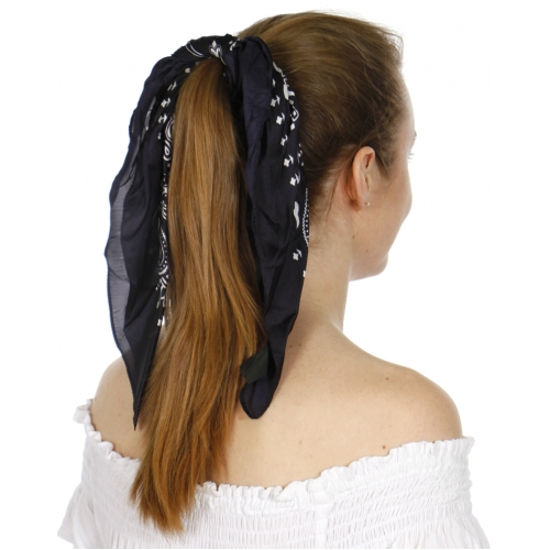 Wholesale D66 Satin sqaure scarf bandana and pleated chiffon scarf set