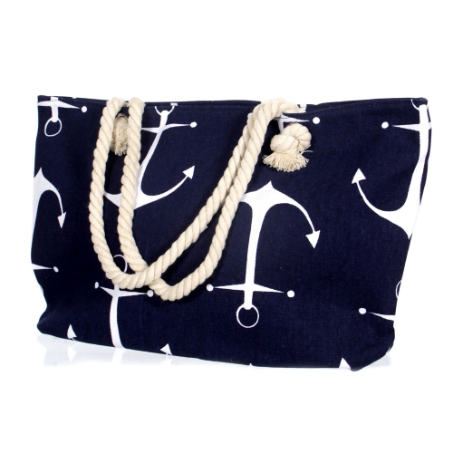 Wholesale S76A Large anchors canvas beach bag