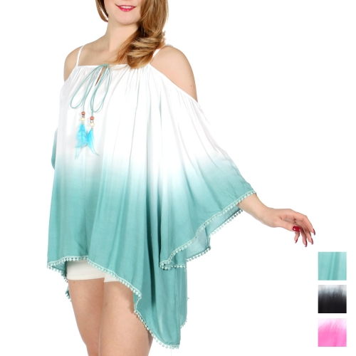 Wholesale J19D Dip dye cold shoulder blouse w/ feather detail