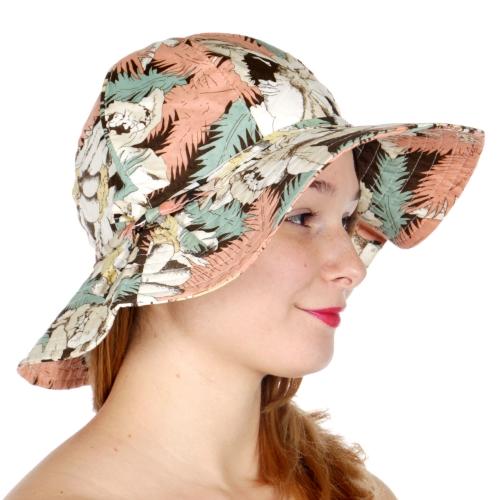 Wholesale V19B Palm and flower print sun hat