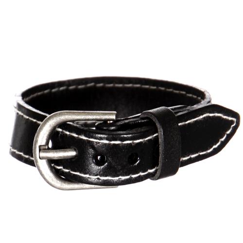 Wholesale WA00 Belt style leather bracelet BLK
