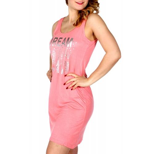 Wholesale K56B DREAM BIG sleeveless nightshirt Coral