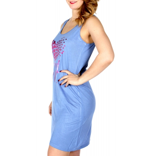 Wholesale Q17-1A LOVE sleeveless nightshirt Blue