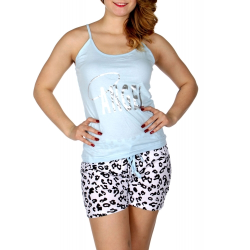 Wholesale Q17-1C ANGEL animal print PJ tank & shorts set Blue
