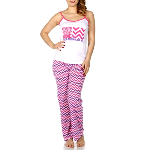Wholesale Q17-1C  SWEET BABE print PJ tank & pants set Coral