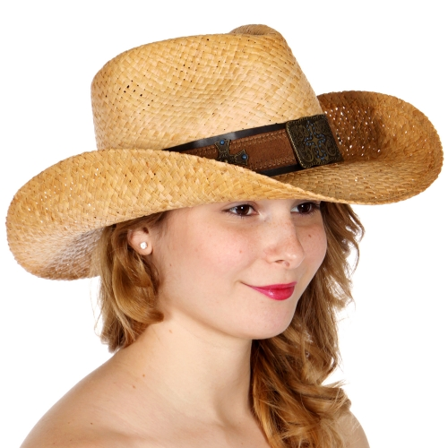 Wholesale W02A Raffia cowboy hat w/ faux leather metal cross band
