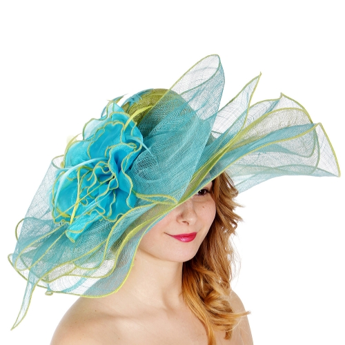 Wholesale W74-1 Large bow & flower two tone sinamay hat LIME/MINT