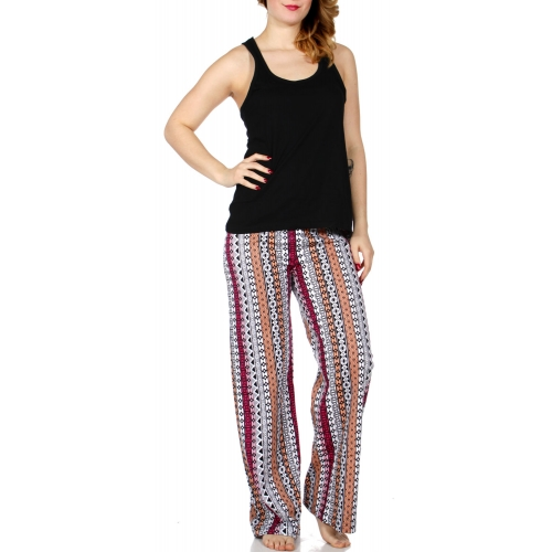 Wholesale A13A Solid tank & pattern stripe print pants PJ set Black