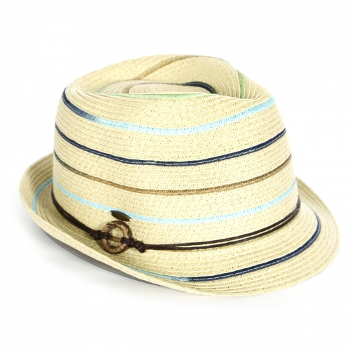 Wholesale V13A Colorful stripes fedora w/ ring band (size adjustable) BLK/DENIM