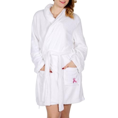 Wholesale U36 Pink ribbon plush robe White