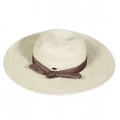 Wholesale V25 Tied bow band sun hat BLUE