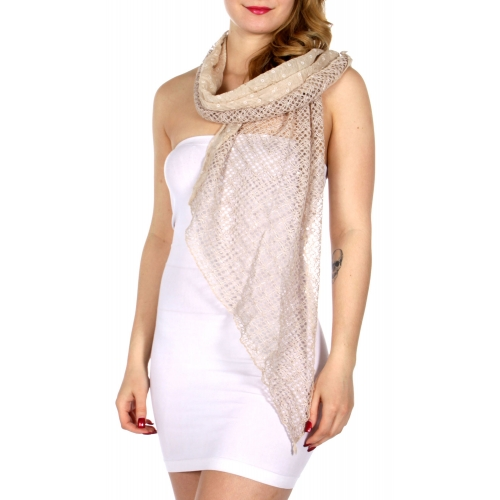 Wholesale-H35A Crochet net & polka dots mix scarf BE