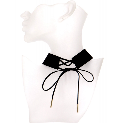 Wholesale WA00 Thick suede choker w/ tie up front GDBLK
