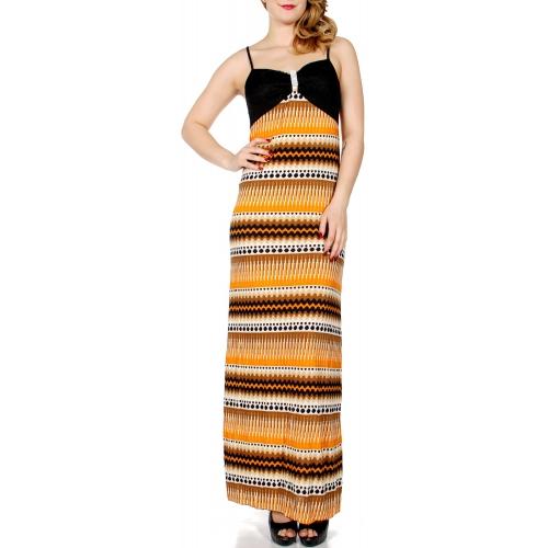 Wholesale K52B Horizontal multi print maxi dress w/ rhinestone & lace insert TQ