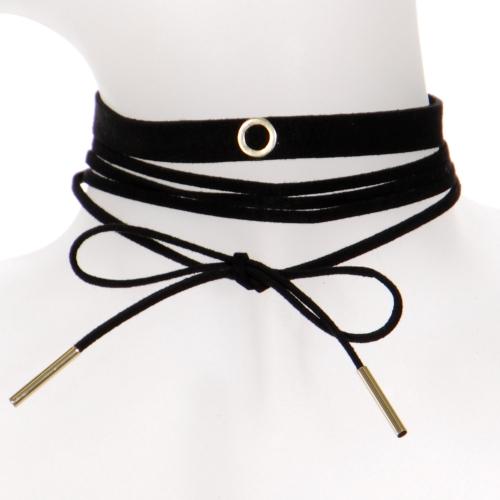 Wholesale WA00 Ring suede choker & suede string choker set GDBLK