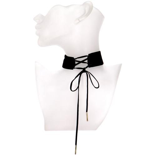 Wholesale WA00 Velvet corset choker GDBLK