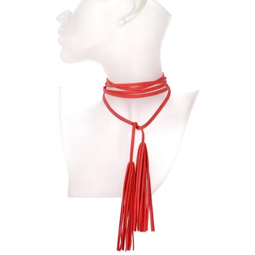 Wholesale WA00 Long suede tasseled string choker APC