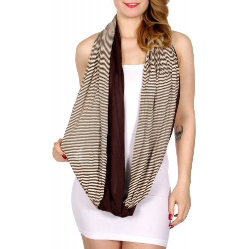Wholesale I36D Stripes & solid two layer infinity scarf