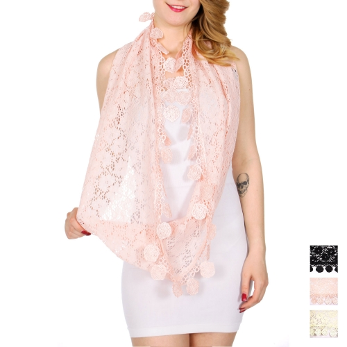 Wholesale H31B Floral crochet like infinity scarf