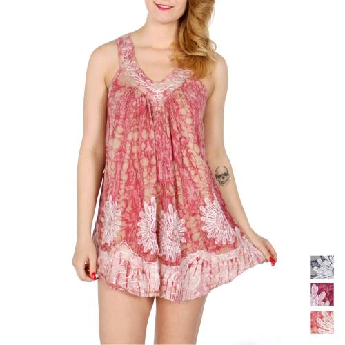 Wholesale K64B Sunflower embroidery V-neck batik sleeveless tunic
