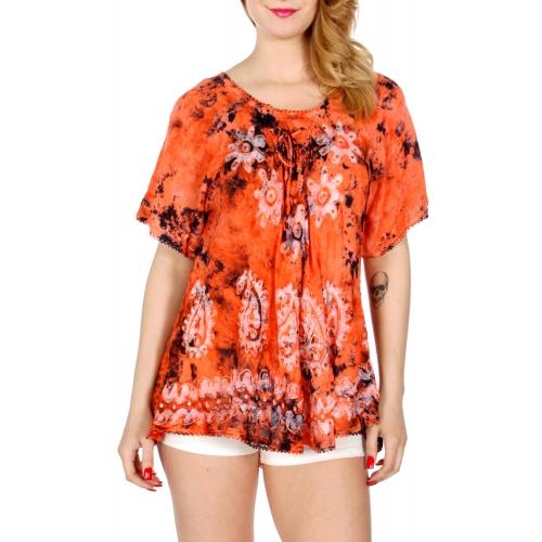Wholesale K33A Dyed lace up batik top