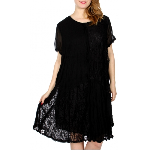 Wholesale I04C Floral lace insert short sleeve dress