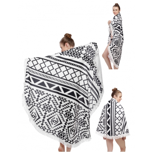 Wholesale O03D Tribal triangle print round beach blanket & shawl w/ fringe