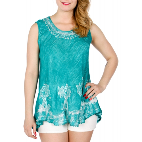 Wholesale K24B Palm tree embroidery sleeveless top