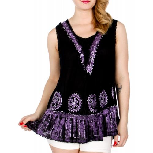 Wholesale K63E Lace up front flower sleeveless batik top
