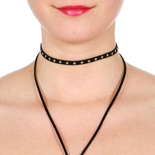 Wholesale WA00 Star studs choker & suede Y necklace set GDBLK
