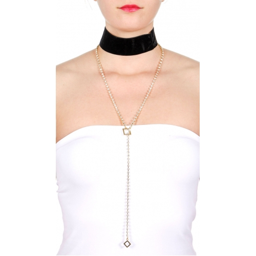 Wholesale M19D Thick velvet choker & rhinestone Y necklace set GDBLK