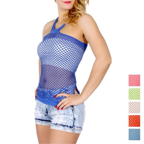 Wholesale O01D Fishnet halter neck tank top