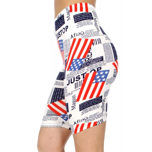 wholesale E41C Flag & news paper softbrush bermuda leggings