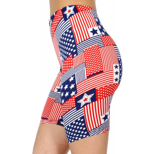 wholesale E40B Stars & stripes softbrush bermuda leggings