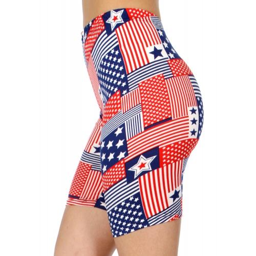 wholesale E40B Stars & stripes softbrush bermuda leggings