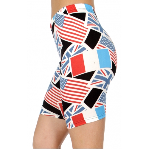 wholesale E40B Multi national flags softbrush bermuda leggings