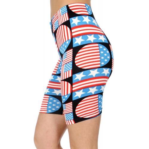 wholesale E41C Geometric flag softbrush bermuda leggings