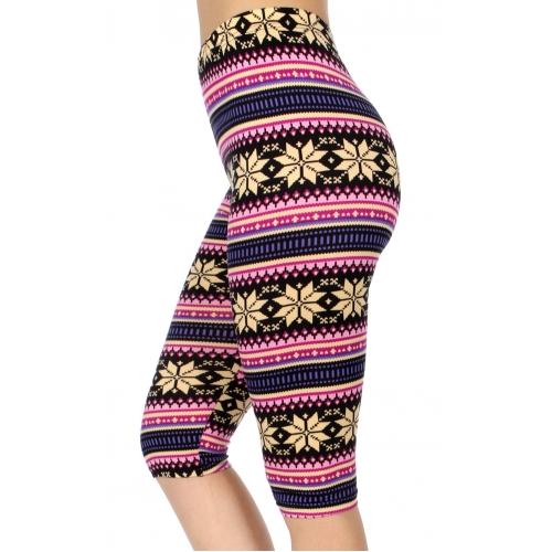 wholesale B01D Nordic snow flakes softbrush capri leggings