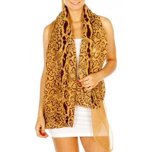 wholesale H49 Pleated animal print scarf Brown