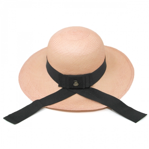 Wholesale V03B Premium handmade round top Panama hat from Ecuador Pink