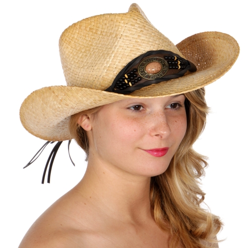 Wholesale V57A Stone band raffia cowboy hat/ tea stained