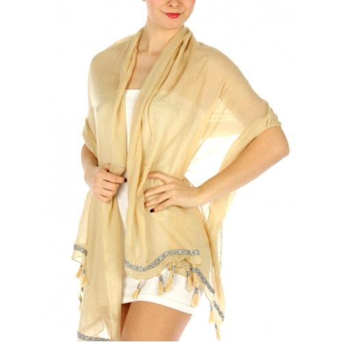 wholesale K02 Tassels n border solid scarf Beige