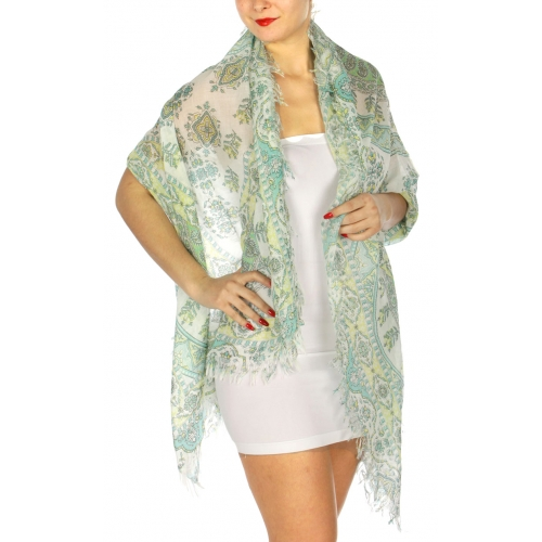 Wholesale BX00 Paisley & vine print scarf  GN