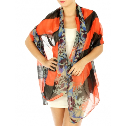 wholesale J11 Neon striped floral print scarf Coral