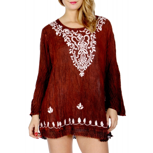 Wholesale N07A Plant embroidered long sleeve tunic top Burgundy