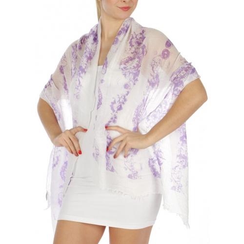wholesale H47 Cotton blend clock scarf Purple