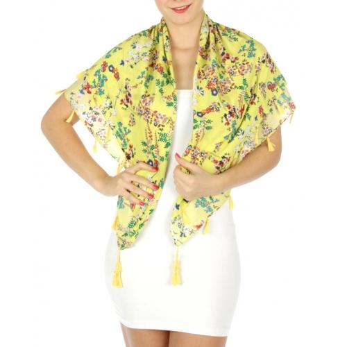 wholesale G26 Flower print square scarf w/tassel Coral